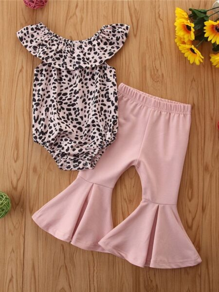 2 Pieces Baby Girl Off Shoulder Leopard Bodysuit And Pink Flared Pants Set 2