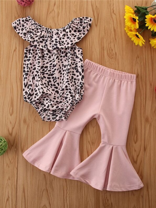 2 Pieces Baby Girl Off Shoulder Leopard Bodysuit And Pink Flared Pants Set 10