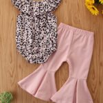 2 Pieces Baby Girl Off Shoulder Leopard Bodysuit And Pink Flared Pants Set 4