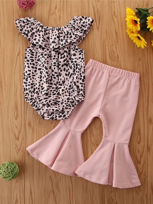 2 Pieces Baby Girl Off Shoulder Leopard Bodysuit And Pink Flared Pants Set 11
