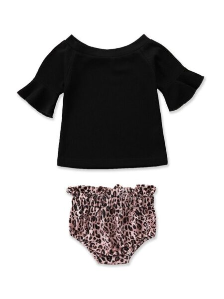 2-Piece Baby Girl Flared Sleeve Black Top And Leopard Shorts Set