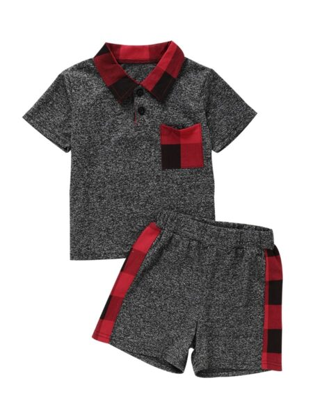 2 Pieces Baby Boy Check Trim Set Polo Shirt With Shorts