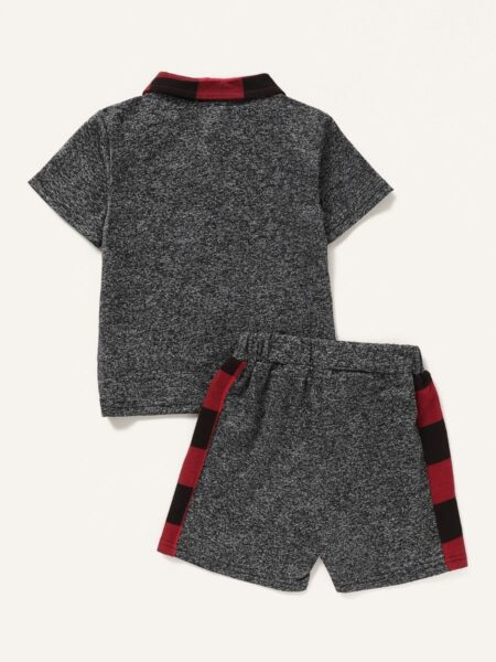 2 Pieces Baby Boy Check Trim Set Polo Shirt With Shorts 2
