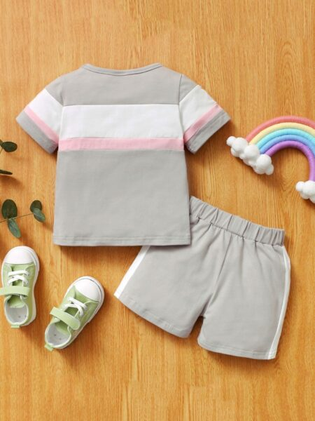 Two Pieces Sport Girl Color Blocking Set T-Shirt With Shorts BABIES Girls
