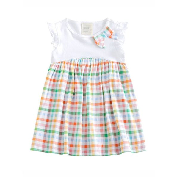 Baby Kid Girl Check Bow Hit Color Sundress