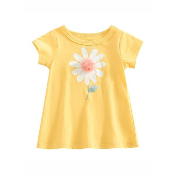 Baby Kid Girl Diasy Flower Yellow Tee
