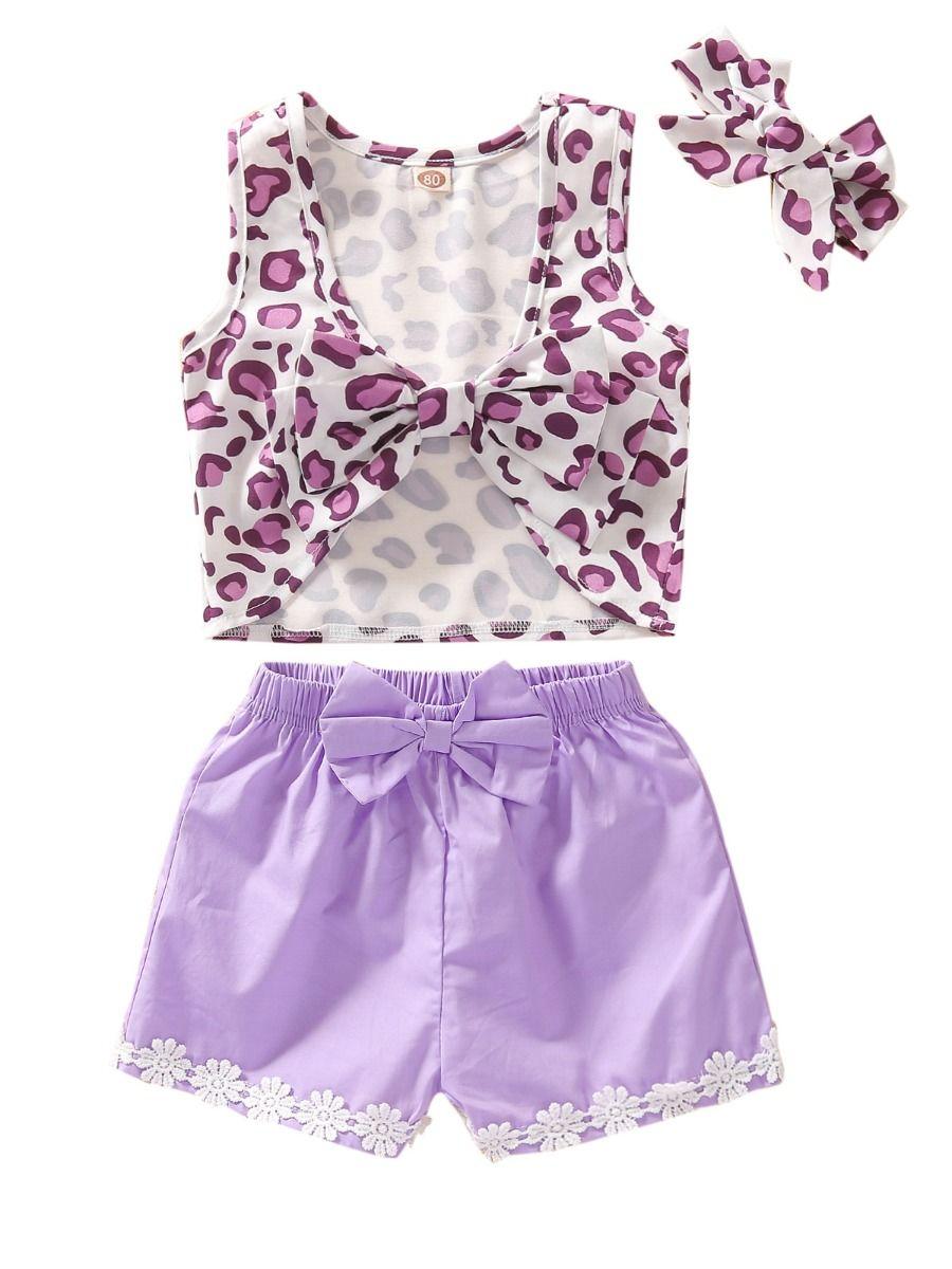 3 Pieces Baby Toddler Girl Leopard Print Set Tank Top Floral Trim Shorts Headband Wholesale