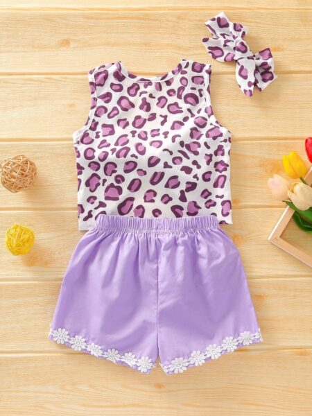 3 Pieces Baby Toddler Girl Leopard Print Set Tank Top Floral Trim Shorts Headband Wholesale 2