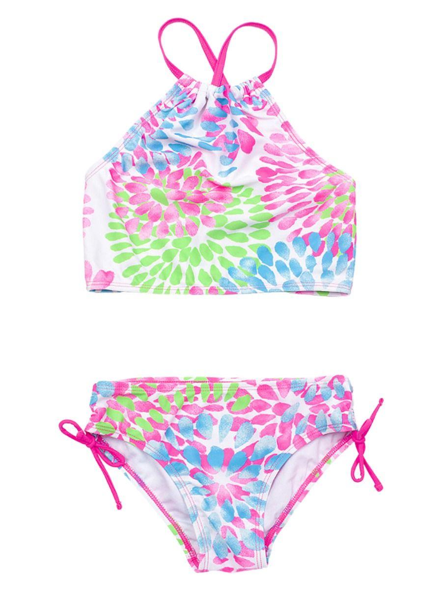 2 Pieces Little Big Girl Waterdrop Print Bikini Swimsuit Wholesale Girls