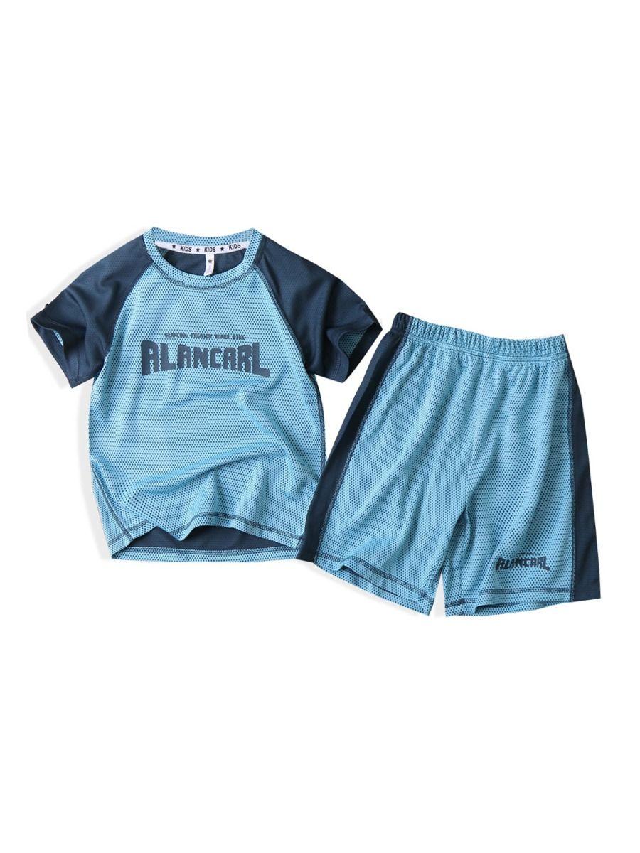 Two Pieces Little Big Boy Letter Print Contrast Color Top With Shorts Set Wholesale