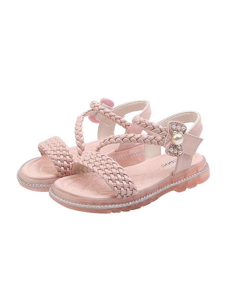 Little Girl Solid Color Woven Sandals Wholesale 2