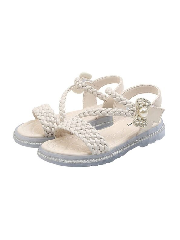 Little Girl Solid Color Woven Sandals Wholesale 11