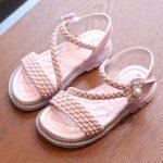 Little Girl Solid Color Woven Sandals Wholesale 7