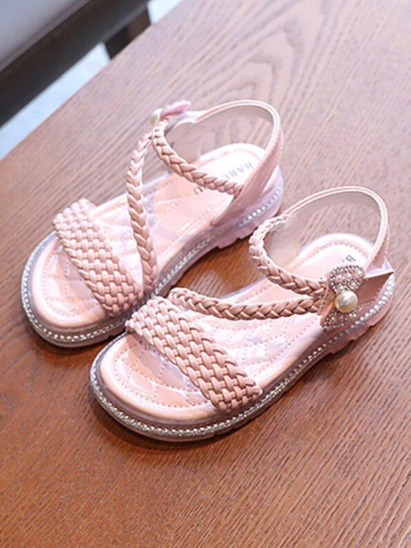 Little Girl Solid Color Woven Sandals Wholesale 14