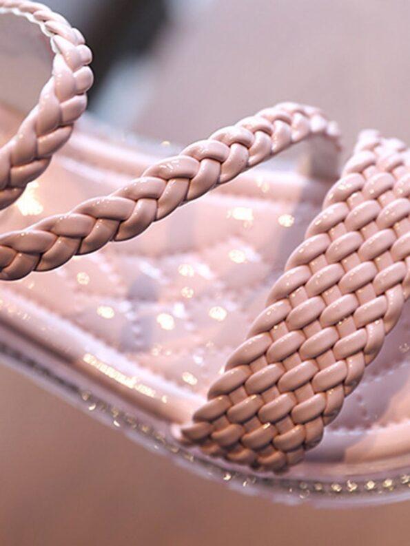 Little Girl Solid Color Woven Sandals Wholesale 13
