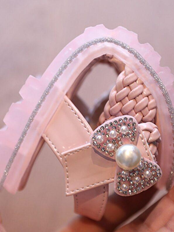 Little Girl Solid Color Woven Sandals Wholesale 16