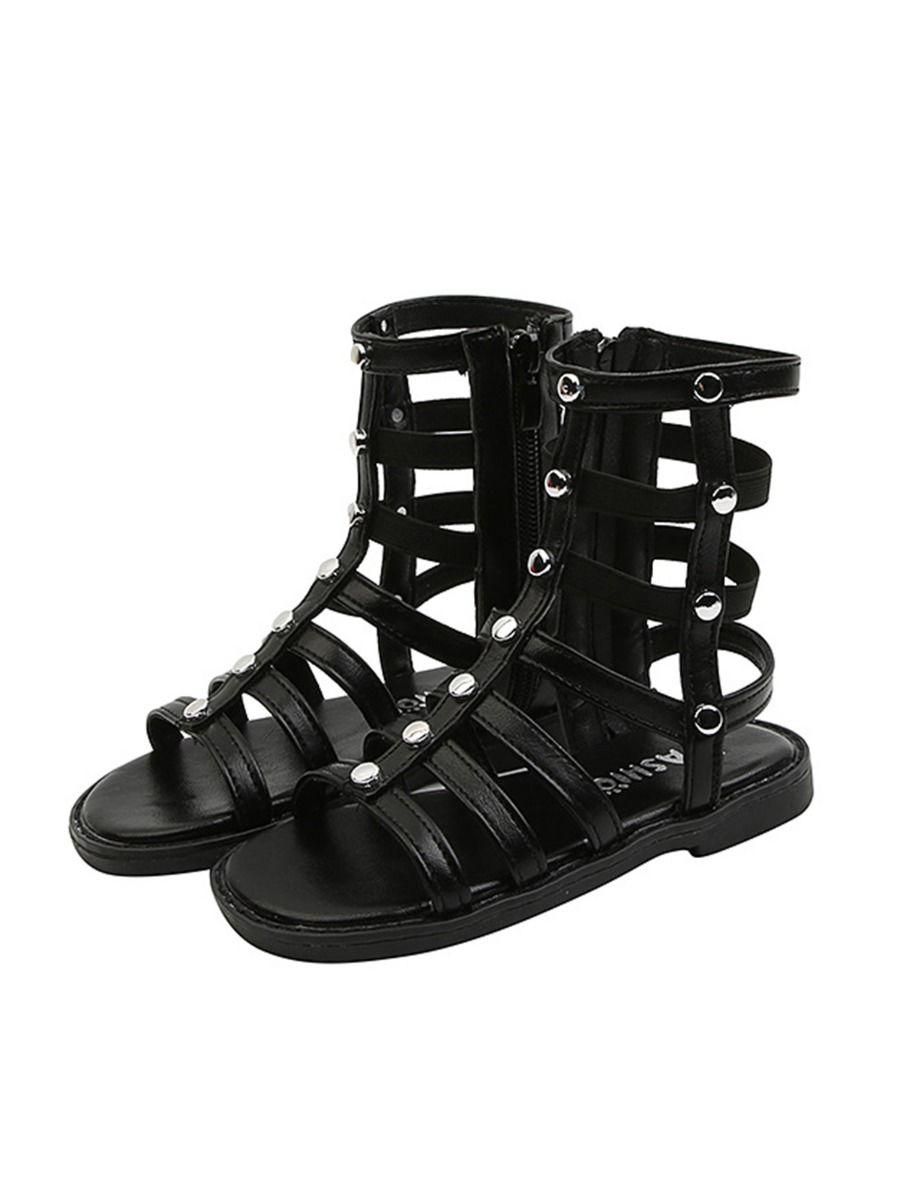 Kid Girl Solid Color Gladiator Sandals Wholesale 2
