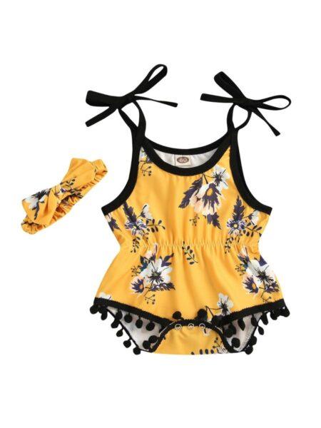 2 Pieces Baby Girl Pom Pom Decor Floral Print Cami Bodysuit With Headband Wholesale 2