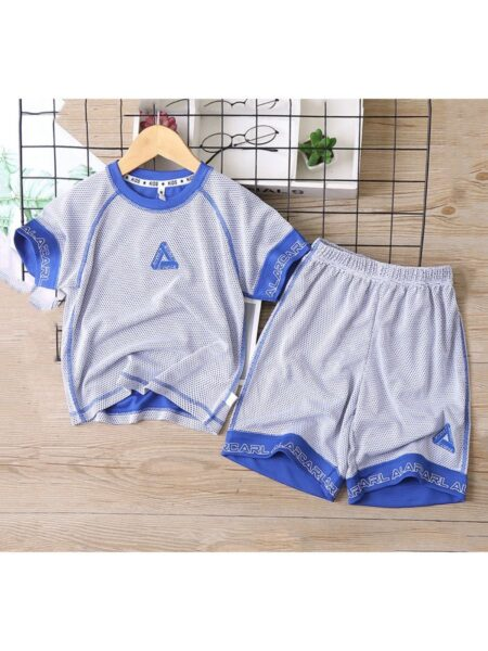 2 Pieces Big Boy Quickly Dry Sports Set Triangle Print Top And Shorts Wholesale 2