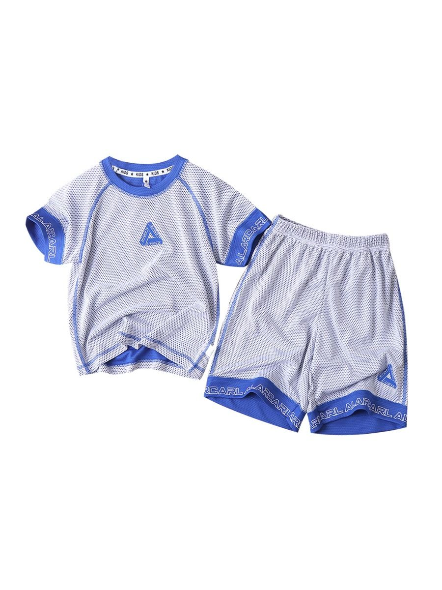 2 Pieces Big Boy Quickly Dry Sports Set Triangle Print Top And Shorts Wholesale