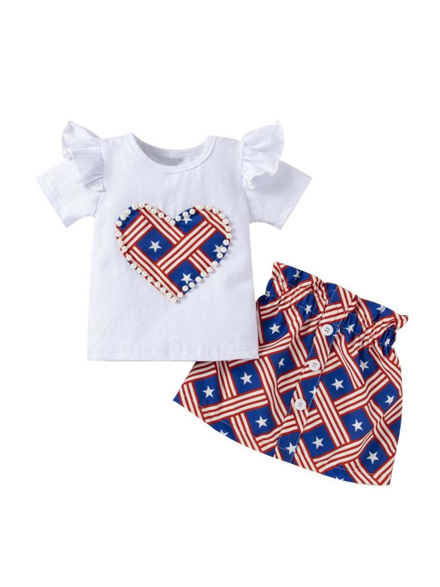 2 Pieces Independence Day Clothes Set Toddler Girls Top And Skirt