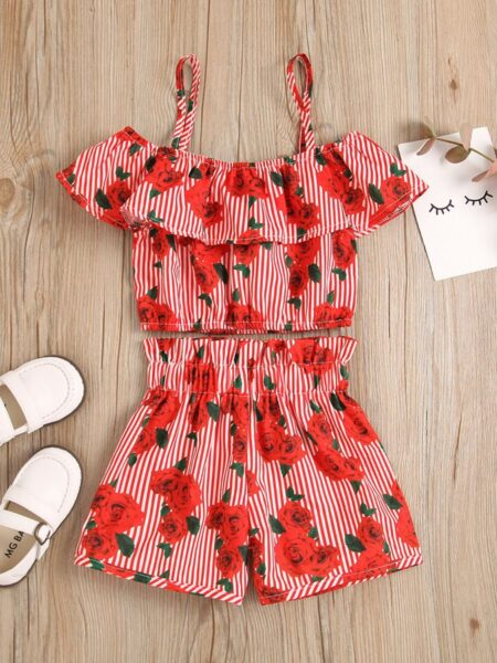 2 Pieces Kid Girl Set Stripe Rose Printed Off Shoulder Top With Shorts Girls