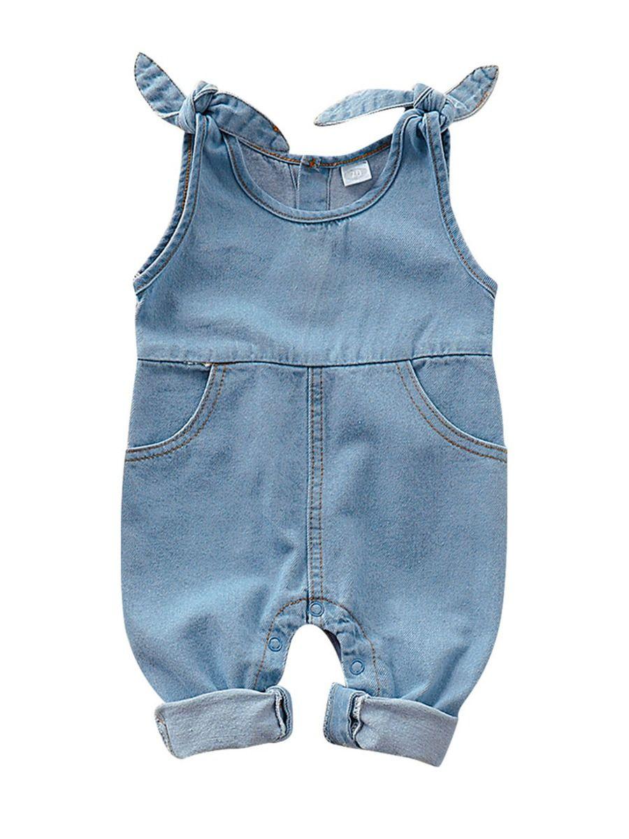 Self Tie Baby Girl Denim Jumpsuit