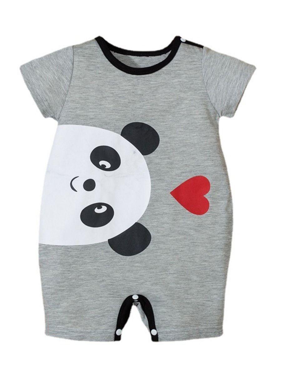 Bear Love Heart Print Baby Jumpsuit 2