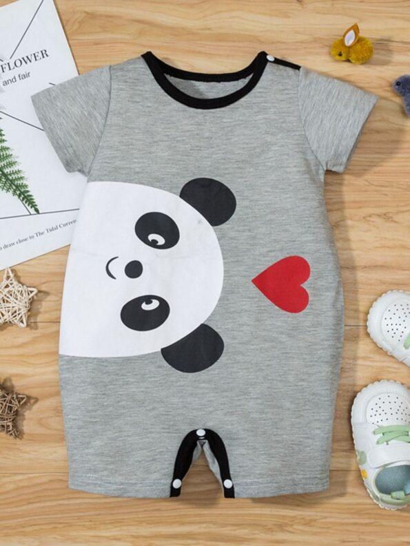 Bear Love Heart Print Baby Jumpsuit 12