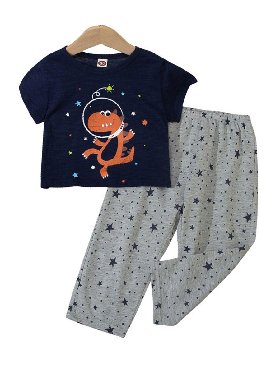 Dinosaur Print Pajama Set For Boys Top With Shorts 14
