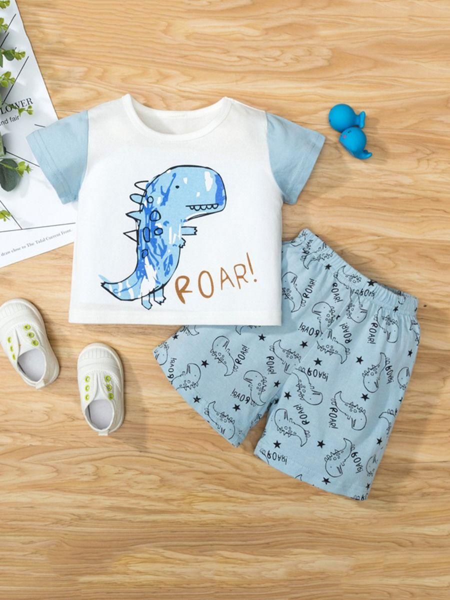 Dinosaur Print Pajama Set For Boys Top With Shorts 2
