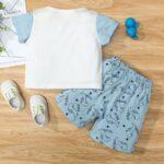 Dinosaur Print Pajama Set For Boys Top With Shorts 3