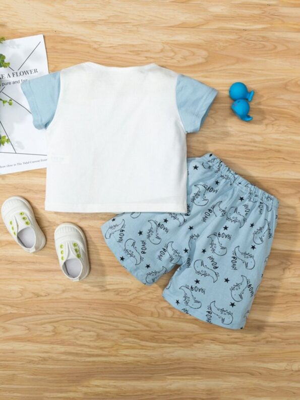 Dinosaur Print Pajama Set For Boys Top With Shorts 8