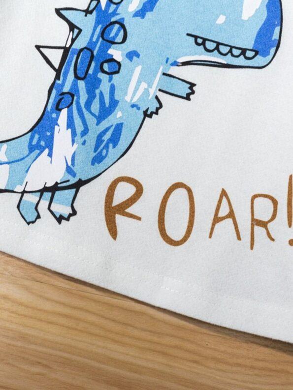Dinosaur Print Pajama Set For Boys Top With Shorts 11