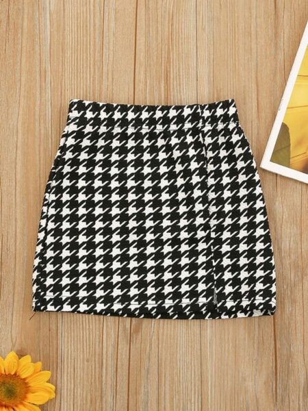 Kid Girl Houndstooth A-Line Skirt  Wholesale 2