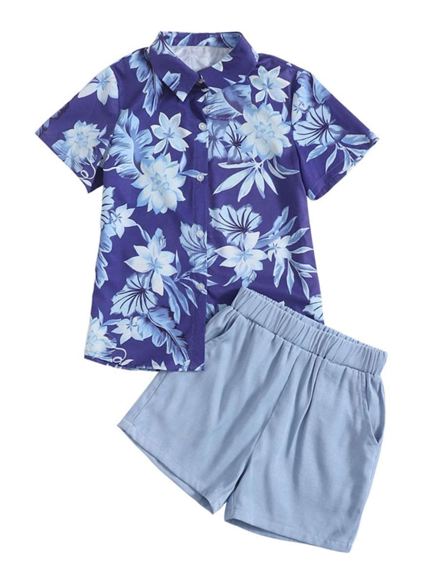 Two Pieces Big Boy Set Flower Print Shirt And Shorts  Wholesale