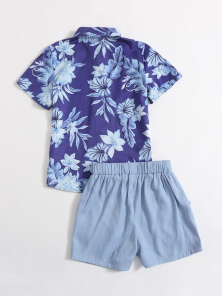 Two Pieces Big Boy Set Flower Print Shirt And Shorts  Wholesale 2