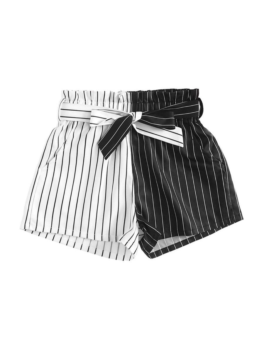 Big Girls Color Blocking Stripe Shorts  Wholesale