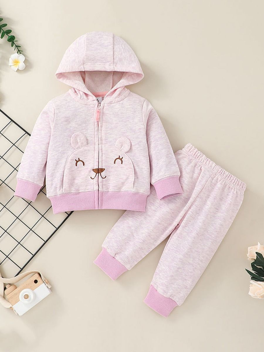 wo Pieces Cartoon Baby Girl Outfit Sets Hoodie And Pants  Wholesale 2