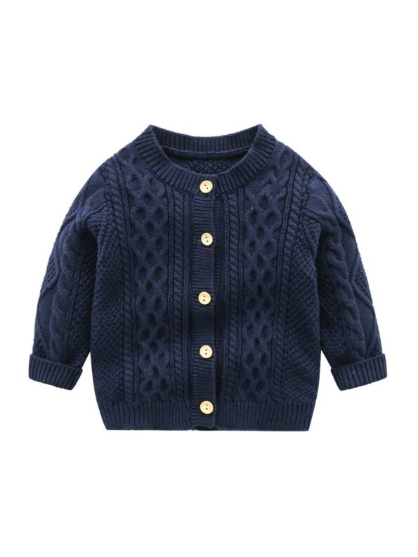 Solid Color Button Knitting Cardigan For Baby  Wholesale 11