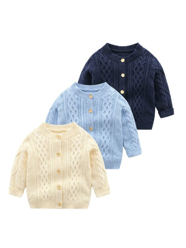 Solid Color Button Knitting Cardigan For Baby  Wholesale 10