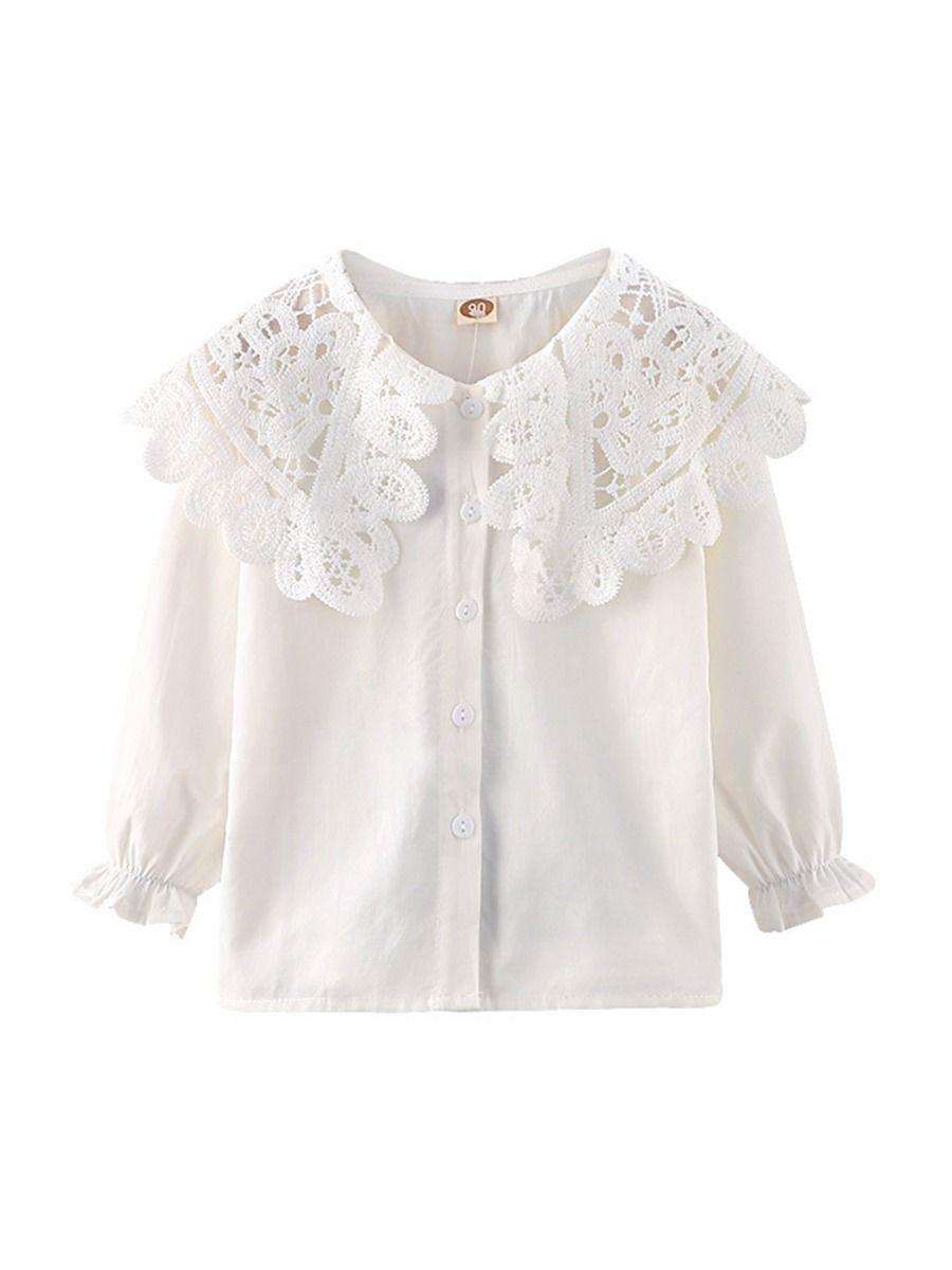 Contrast Collar Plain Lace Kid Girl Blouse  Wholesale 2