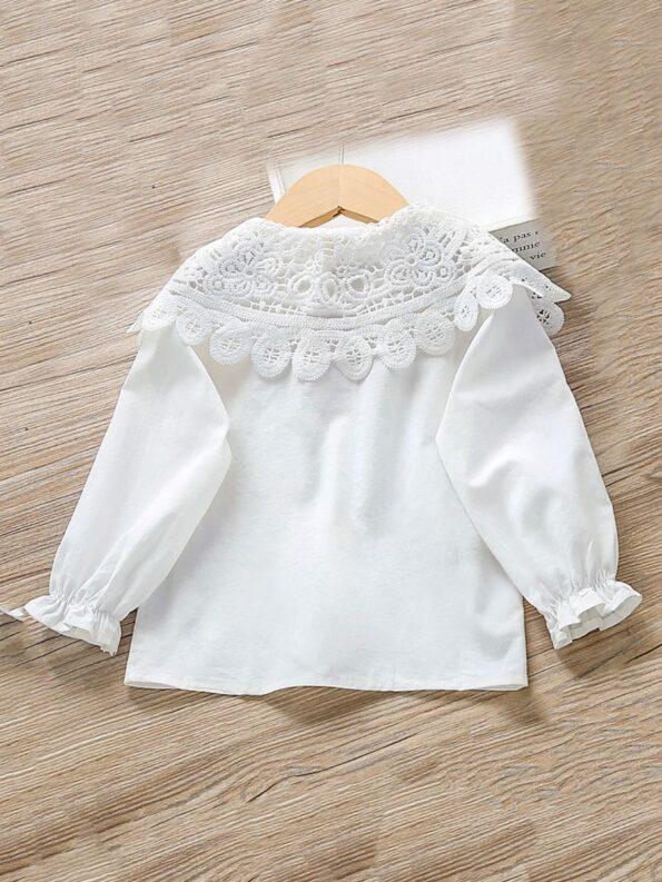 Contrast Collar Plain Lace Kid Girl Blouse  Wholesale 7