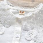 Contrast Collar Plain Lace Kid Girl Blouse  Wholesale 4