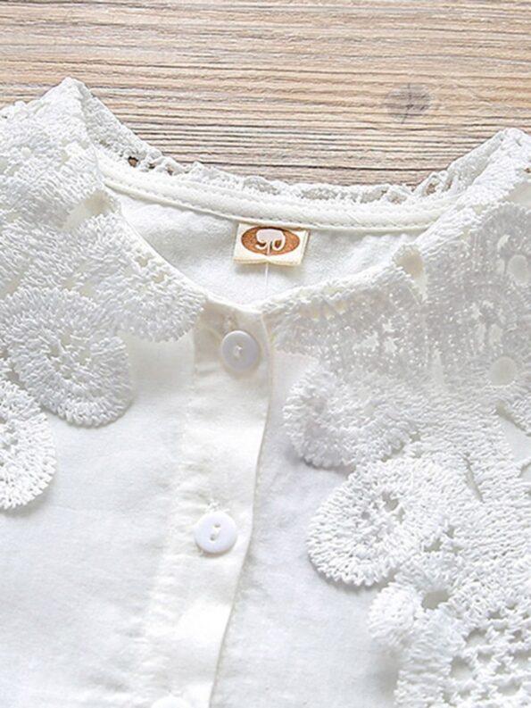 Contrast Collar Plain Lace Kid Girl Blouse  Wholesale 8