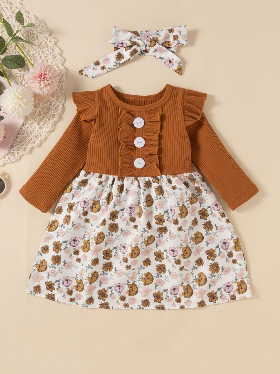 2 Pieces Leopard Floral Print Ribbed Ruffle Trim Dresses For Girls With Headband  Wholesale 2