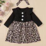 2 Pieces Leopard Floral Print Ribbed Ruffle Trim Dresses For Girls With Headband  Wholesale 4
