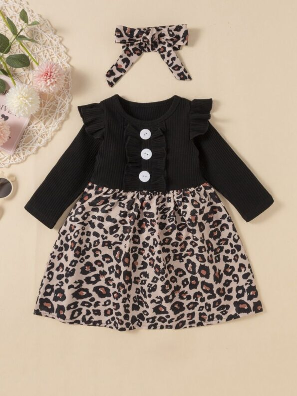2 Pieces Leopard Floral Print Ribbed Ruffle Trim Dresses For Girls With Headband  Wholesale 9