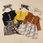 2 Pieces Leopard Floral Print Ribbed Ruffle Trim Dresses For Girls With Headband  Wholesale 3