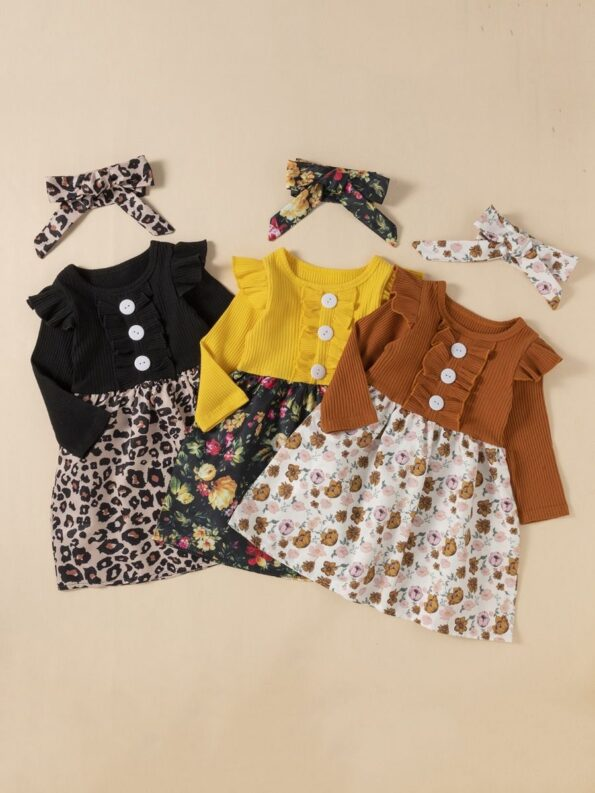 2 Pieces Leopard Floral Print Ribbed Ruffle Trim Dresses For Girls With Headband  Wholesale 8